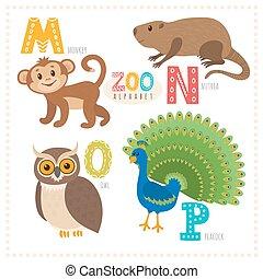 mignon, singe, o, n, rigolote, alphabet, nutria, letters., p, hibou, paon, dessin animé, zoo, m, animals.