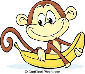 mignon, singe, -, vecteur, il, prise, banane