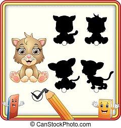 mignon, sitting., shadow., trouver, jeu, chaton, correct, education, enfants