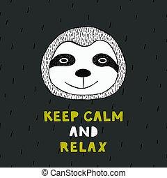 mignon, sloth., rigolote, affiche, main, dessiné