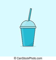 mignon, smoothies, fruit, dessin animé, cups.