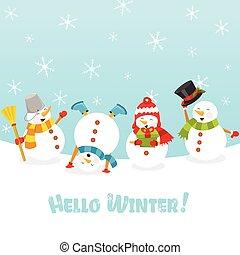 mignon, snowmen, neige, célébrer