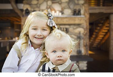 mignon, soeur, pose, frère, rustique, cabine
