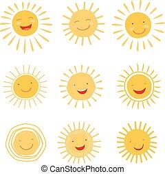 mignon, soleil, caractère, collection, main, vecteur, dessiné
