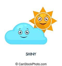 mignon, soleil, gai, faces, brillant, nuage