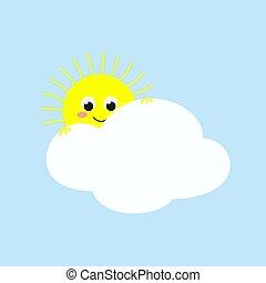 mignon, soleil, illustration, regarder, vecteur, cloud., dehors