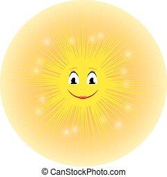 mignon, soleil, jaune, vecteur, illustration, sourire, dessin animé