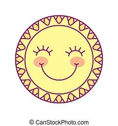 mignon, soleil, rond, vecteur, gabarit