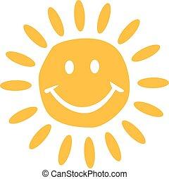 mignon, soleil souriant, figure