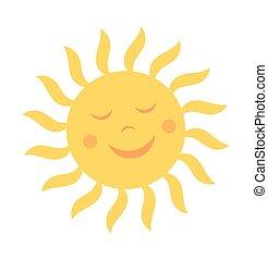 mignon, soleil, sourire