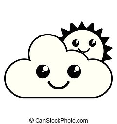 mignon, soleil, temps, icône, nuage, heureux