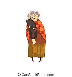 mignon, solitaire, vieux, animal, elle, chouchou, chat, étreindre, vecteur, noir, illustration, fond, grand-maman, blanc, dame