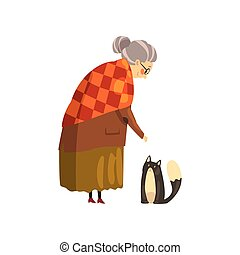 mignon, solitaire, vieux, animal, elle, chouchou, chat, illustration, vecteur, arrière-plan noir, grand-maman, blanc, dame
