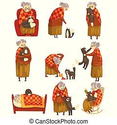 mignon, solitaire, vieux, animal, elle, ensemble, illustration, chat, chouchou, vecteur, arrière-plan noir, grand-maman, blanc, dame