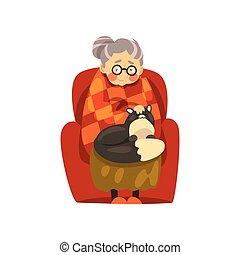 mignon, solitaire, vieux, animal, elle, séance, chouchou, fauteuil, chat, illustration, vecteur, arrière-plan noir, grand-maman, blanc, dame