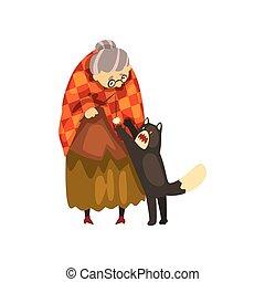 mignon, solitaire, vieux, elle, chouchou, chat, illustration, arrière-plan., vecteur, noir, animal, grand-maman, blanc, dame, jouer