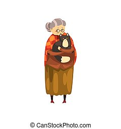 mignon, solitaire, vieux, fond, elle, chouchou, mains, grand-maman, étreindre, chat, vecteur, noir, illustration, animal, tenue, blanc, dame