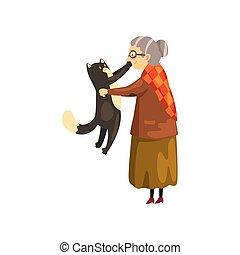 mignon, solitaire, vieux, fond, elle, chouchou, mains, grand-maman, illustration, chat, vecteur, noir, animal, tenue, blanc, dame