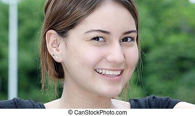 mignon, sourire, adolescent, femme