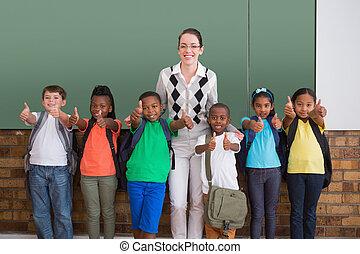 mignon, sourire, appareil photo, élèves