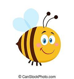 mignon, sourire, caractère, dessin animé, abeille