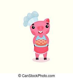 mignon, sourire, cochon, chef cuistot, caractère, tenue, fraîchement, cuit, tarte, rigolote, dessin animé, porcin, animal, vecteur, illustration