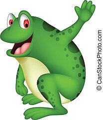 mignon, sourire, dessin animé, grenouille