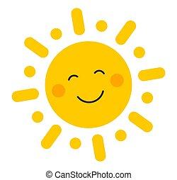 mignon, sourire, icon., soleil