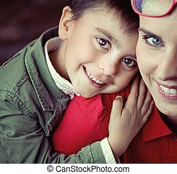 mignon, sourire, sien, maman, garçon