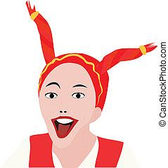 mignon, sourire, vecteur, girl, illustration
