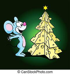 mignon, souris, arbre noël, heureux