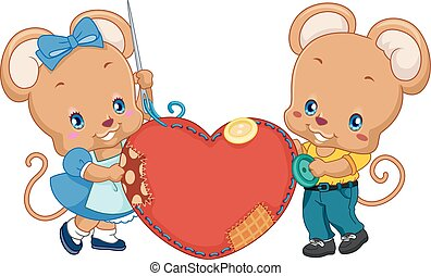 mignon, souris, couture, couple, coeur