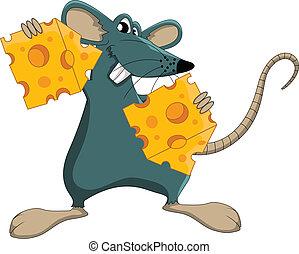 mignon, souris, dessin animé, fromage