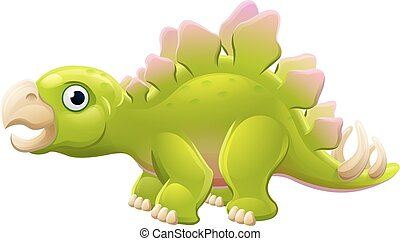 mignon, stegosaurus, dessin animé, dinosaure