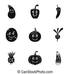 mignon, style, ensemble, légumes, figure, simple, icône
