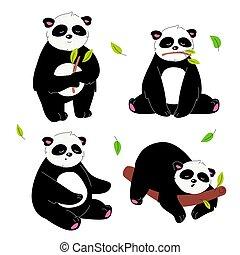 mignon, style, ensemble, plat, -, conception, caractères, panda
