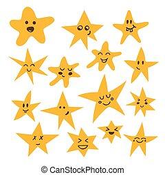 mignon, style, ensemble, rigolote, main, stars., dessiné, comique, dessin animé