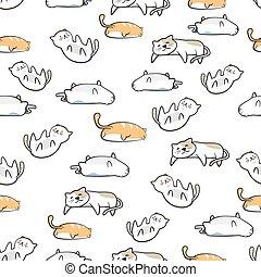 mignon, style, modèle, seamless, chat, dessiné, main, dessin animé