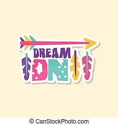 mignon, style, mode, éléments, illustration, texte, autocollant, ethnique, créatif, clair, vecteur, couleurs, pièce, rêve, dessin animé