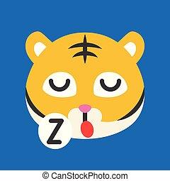 mignon, style, plat, illustration, tigre, vecteur, emoticon