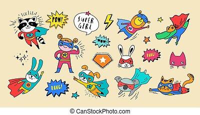 mignon, superhero, animaux, main, vecteur, caractères, dessiné