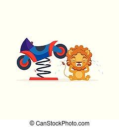 mignon, sur, caractère, illustration, cassé, lion, vecteur, motocyclette, pleurer