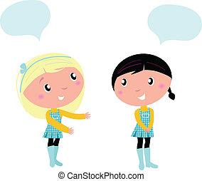 mignon, sur, filles, école, deux, conversation, quelque chose