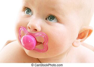 mignon, sur, fond, bébé, blanc, girl