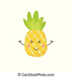 mignon, symbole, illustration, vecteur, ananas, icône