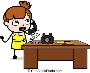 mignon, téléphone, caractère, -, illustration, conversation, vecteur, girl, dessin animé