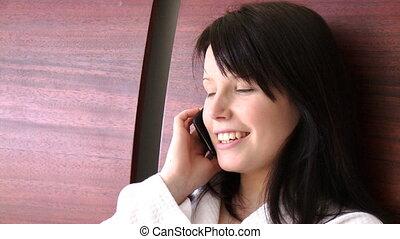 mignon, téléphoner femme, portrait
