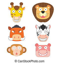 mignon, tête, animal, icône