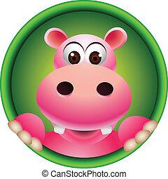mignon, tête, dessin animé, hippopotame