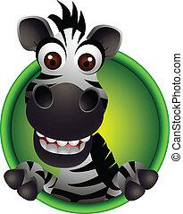 mignon, tête, zebra, dessin animé